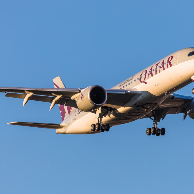 """""""Airbus A350 Qatar Airways A7-ALQ"""" stock image"""