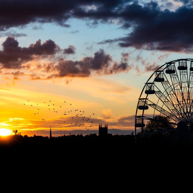 """""""Sunset Silhouettes from Parker's Piece, Cambridge UK."""" stock image"""