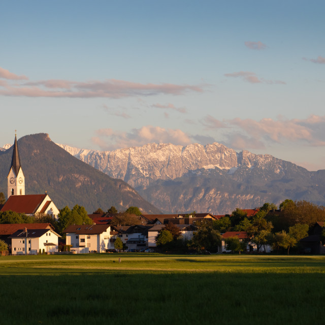 """""""Village in Bavaria in front of the Alpine chain"""" stock image"""
