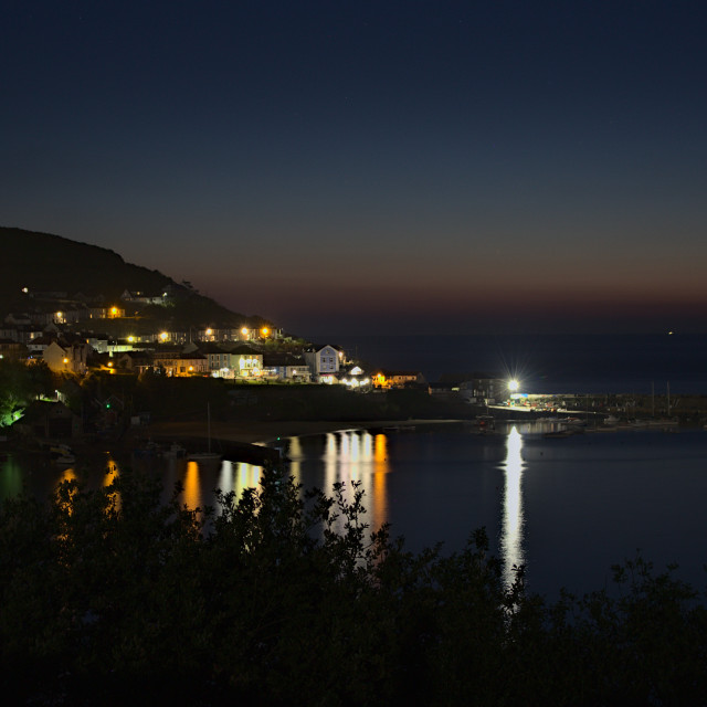 """""""New Quay by Night"""" stock image"""