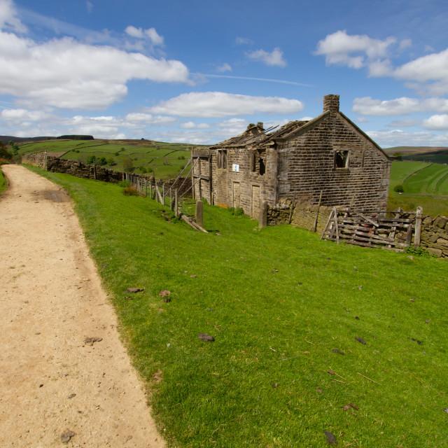 """Bronte Country, Derelict Farmhouse next to Footpath, Bronte Country, Footpath, The Bronte Way to Top Withens, a Derelict Farmhouse, Leading to Top Withens,"" stock image"