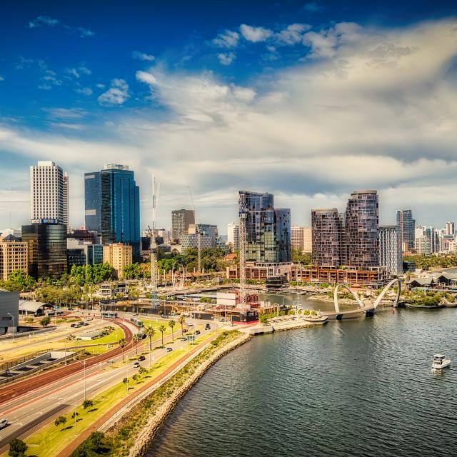 """Perth City Aerial Panorama"" stock image"