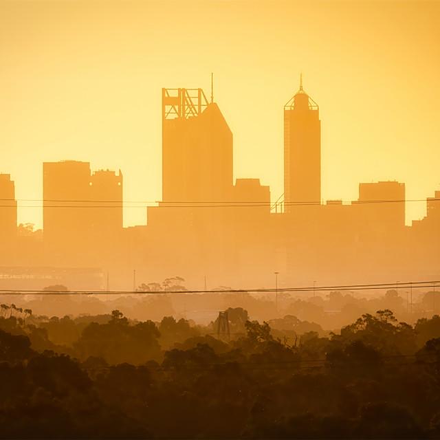 """Hazy Perth City Skyline"" stock image"