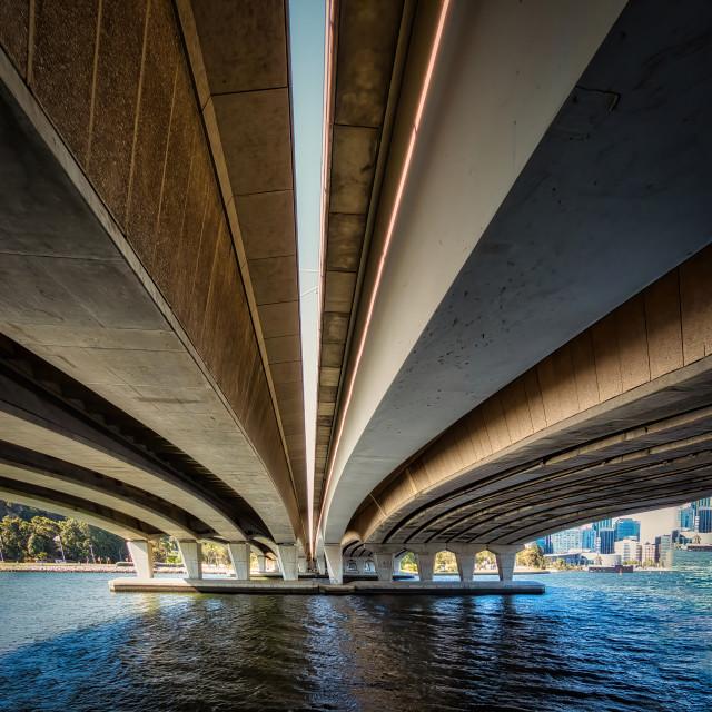 """Narrows Bridge from Below"" stock image"