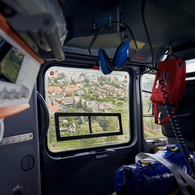 """""""View from helicopter of emergency medical service"""" stock image"""