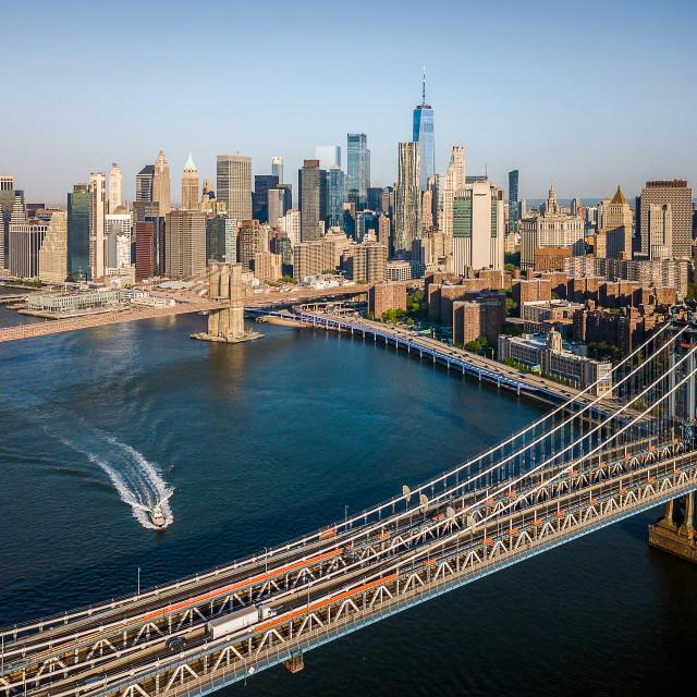 """Aerial of Manhattan Bridge and Brooklyn bridge on a sunny day"" stock image"