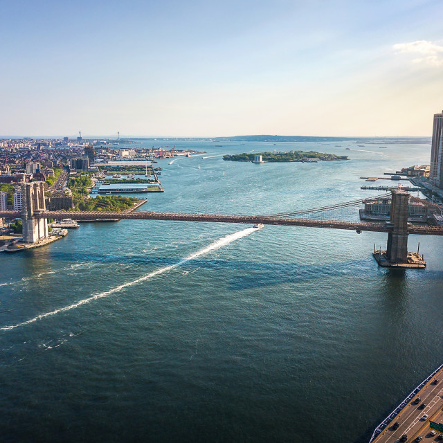 """""""Aerial of downtown Manhattan and Brooklyn bridge on a sunny day"""" stock image"""