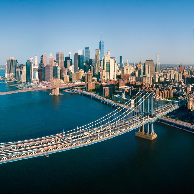 """Aerial panorama of Manhattan Bridge and Brooklyn bridge in New York"" stock image"