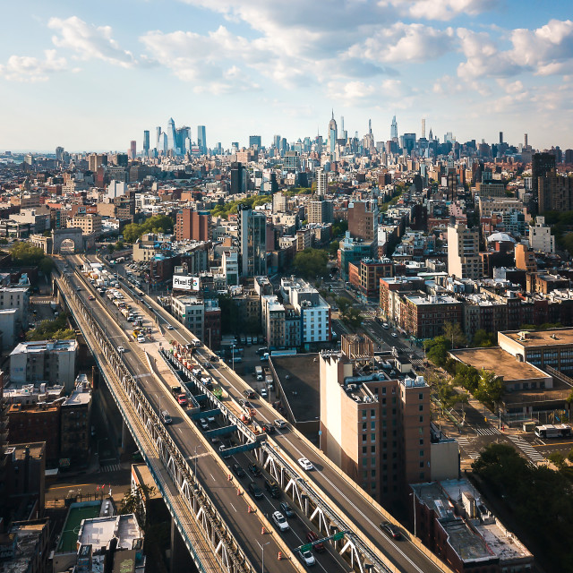 """""""Aerial view of downtown Manhattan and China town"""" stock image"""