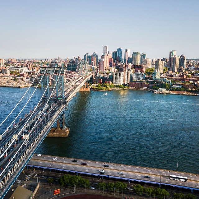 """""""Aerial view of Manhattan bridge and downtown Brooklyn"""" stock image"""