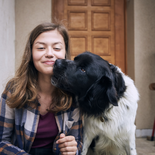 """""""Portrait of happy teenager girl with her dog"""" stock image"""