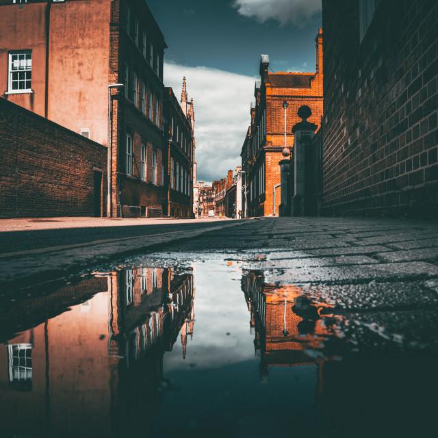 """Reflections from Mill Lane, Cambridge UK."" stock image"