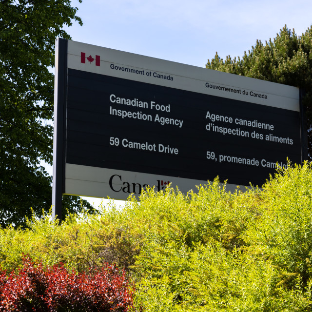 """""""Canadian Food Inspection Agency office sign in Ottawa"""" stock image"""