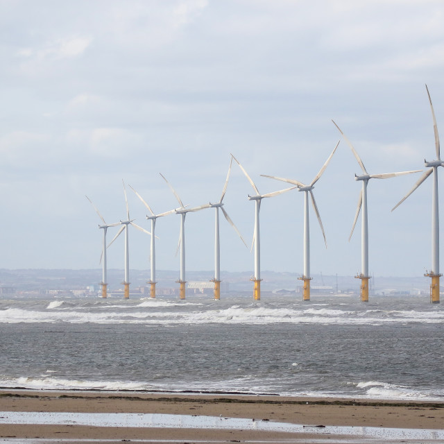 """""""Wind Turbines at Redcar"""" stock image"""
