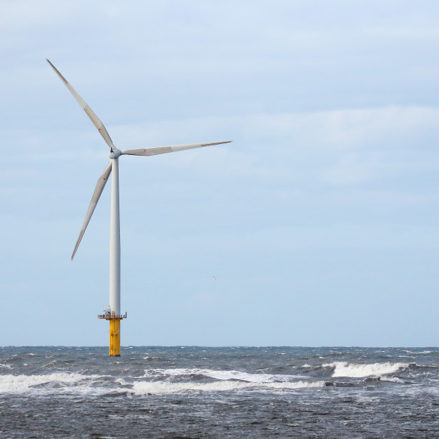 """Wind Turbine at Redcar"" stock image"