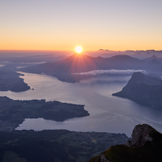 """Mountain landscape during beautiful dawn"" stock image"