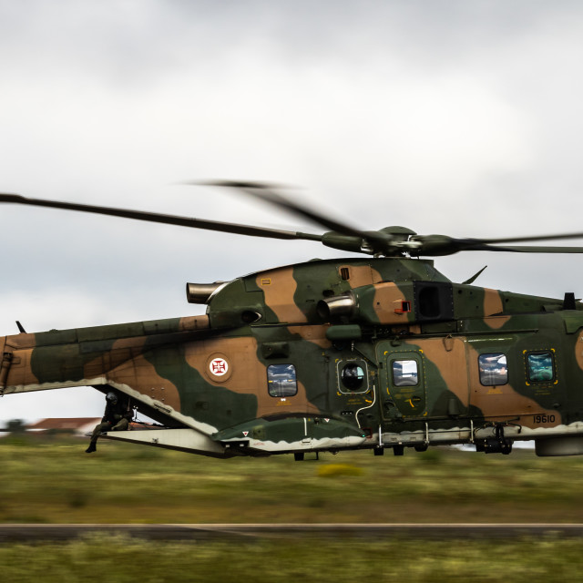 """""""Portuguese EH-101 Merlin helicopter flyby during NATO Tiger Meet 2021"""" stock image"""