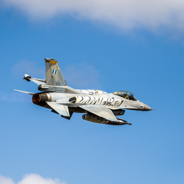 """""""Take-off of a Greek F-16 fighter jet during NATO Tiger Meet 2021"""" stock image"""