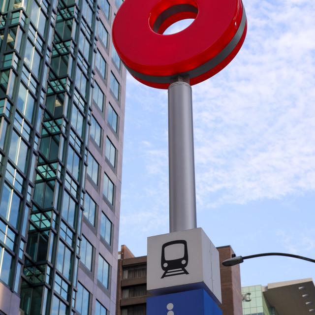 """Ottawa OC Transpo/O-Train logo at LRT station"" stock image"