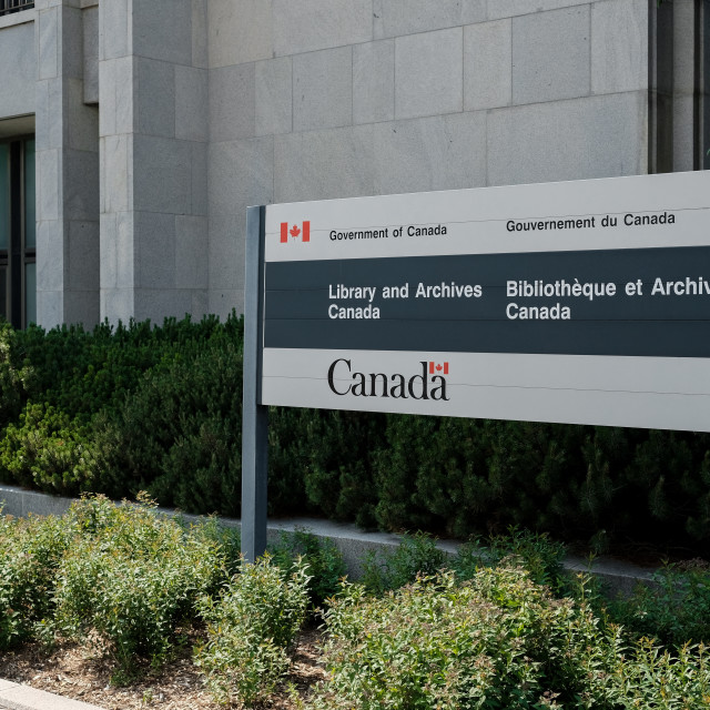 """""""Library and Archives Canada sign in Ottawa"""" stock image"""