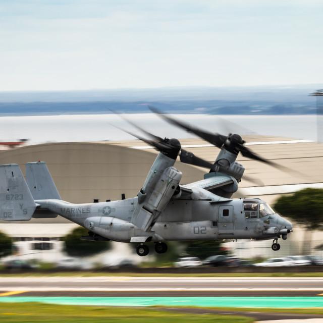 """Take-off of a USMC tilt-rotor aircraft"" stock image"