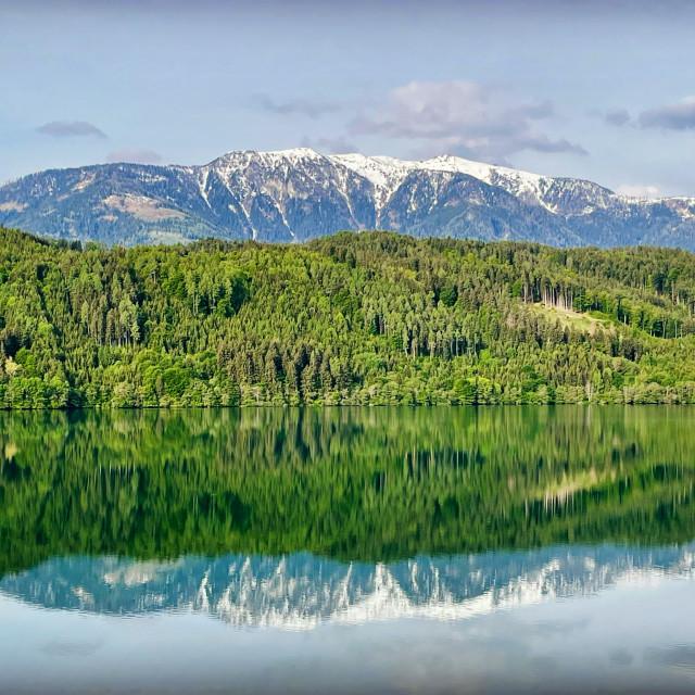 """Mountains Over Lake"" stock image"