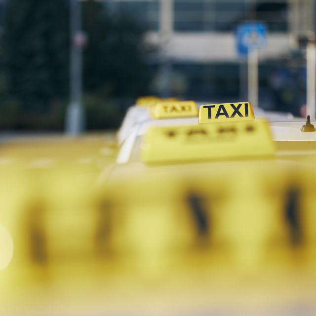 """""""Taxi cars waiting for passenger"""" stock image"""