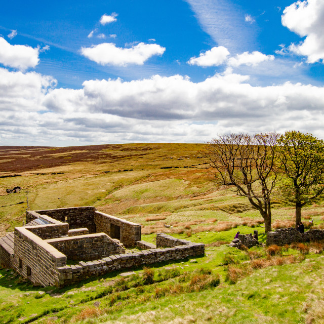 """""""Bronte Country, Top Withens, a Derelict Farmhouse."""" stock image"""