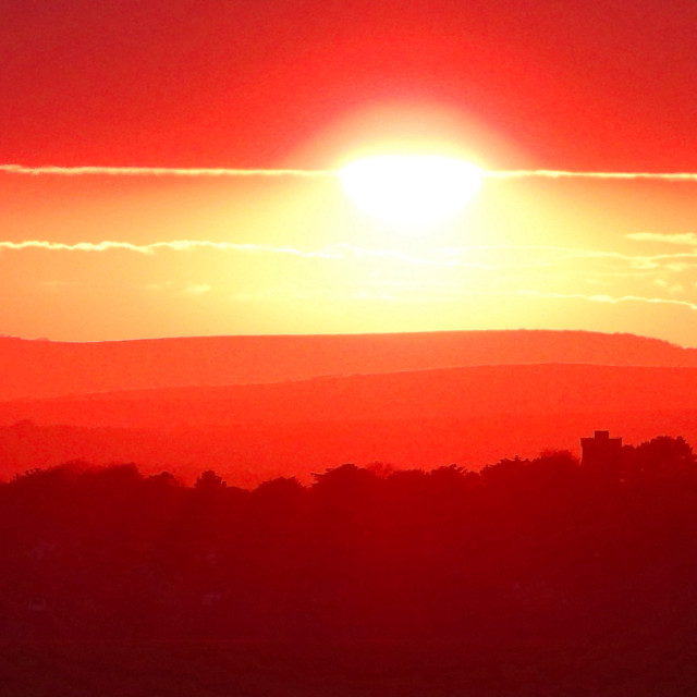 """""""Sunset Beyond Beachy Head (Widescape)"""" stock image"""