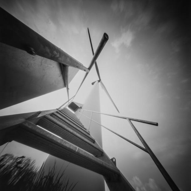"""Steps to the Wind Turbine - pinhole photo"" stock image"