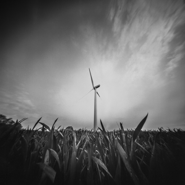 """Lone Wind Turbine - pinhole photo"" stock image"