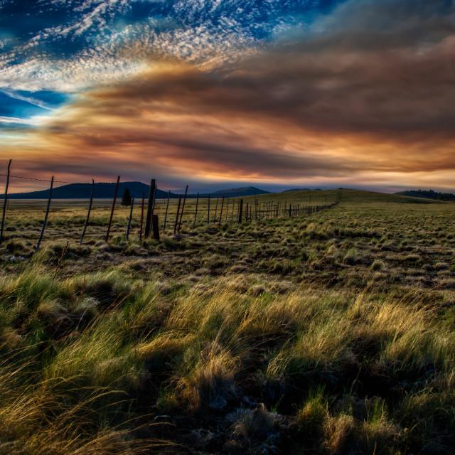 """sunset-smoke-white-mountains-west"" stock image"