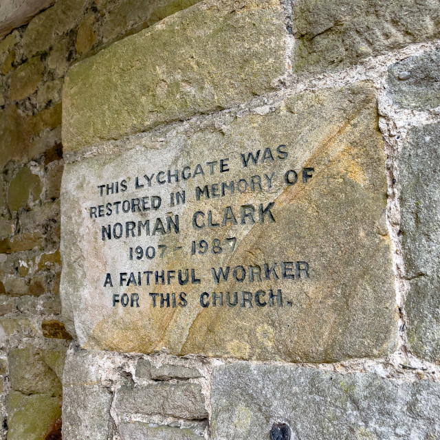 """Lychgate at St. Wilfreds Parish Church, Burnsall, Yorkshire, Memorial to Norman Clark"" stock image"