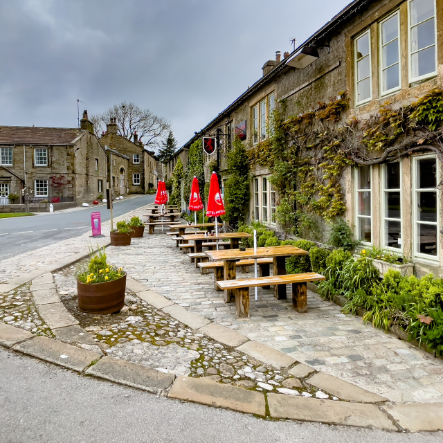 """""""The Red Lion and Manor House, Burnsall, Yorkshire Dales."""" stock image"""