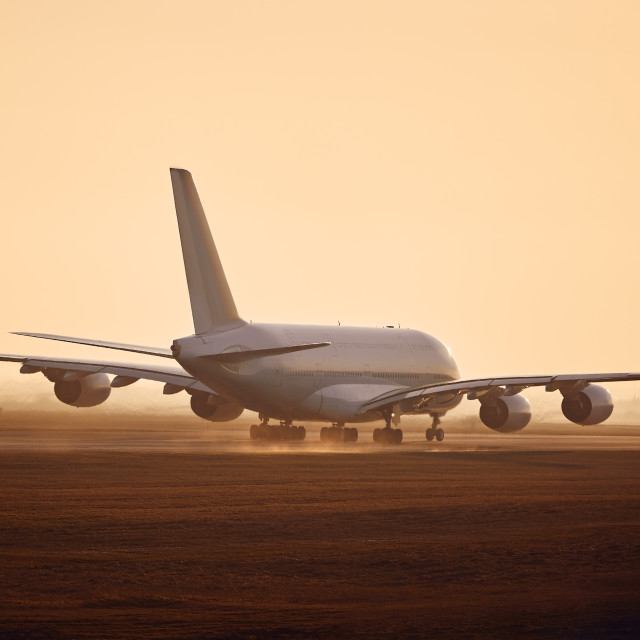 """""""Airplane taking off from airport runway"""" stock image"""