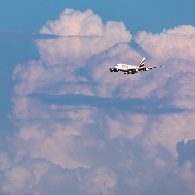"""""""Airbus A380 Emirates against the clouds"""" stock image"""