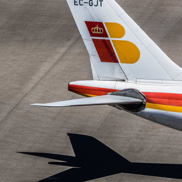 """""""Airbus A340 Iberia Rosa Chacel EC-GJT. Tail detail."""" stock image"""
