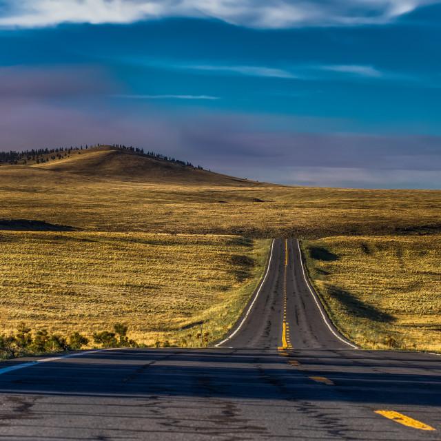 """""""travel-white mountains-arizona-sunset-road"""" stock image"""