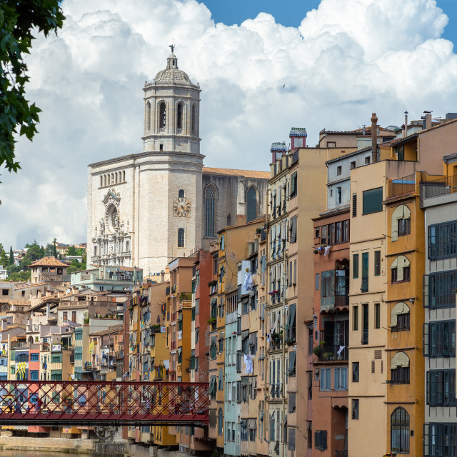 """""""Colorful houses in Girona, Catalonia, Spain"""" stock image"""