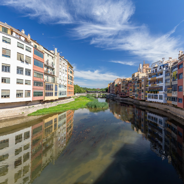 """""""View of the embankment in Girona - Catalonia, Spain"""" stock image"""