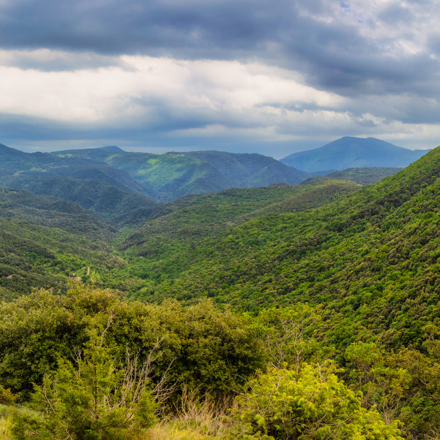 """""""Nice valley from Spain, near village Rupit in a cloudy day"""" stock image"""