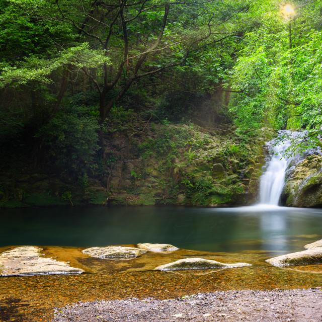 """Beautiful waterfall in Spain in Catalonia, near the small village Les Planes de Hostoles"" stock image"