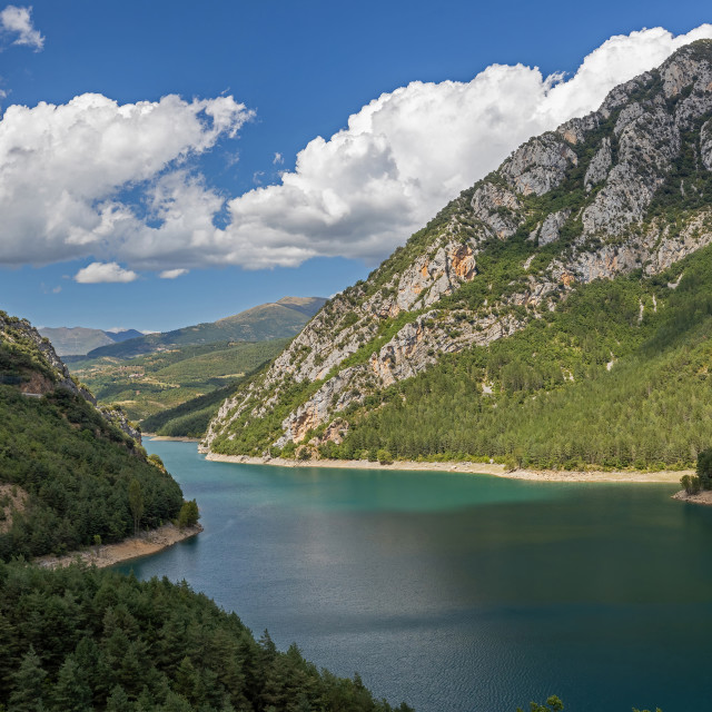 """""""Huge reservoir in the Spanish Pyrenees, on the border of Catalon"""" stock image"""