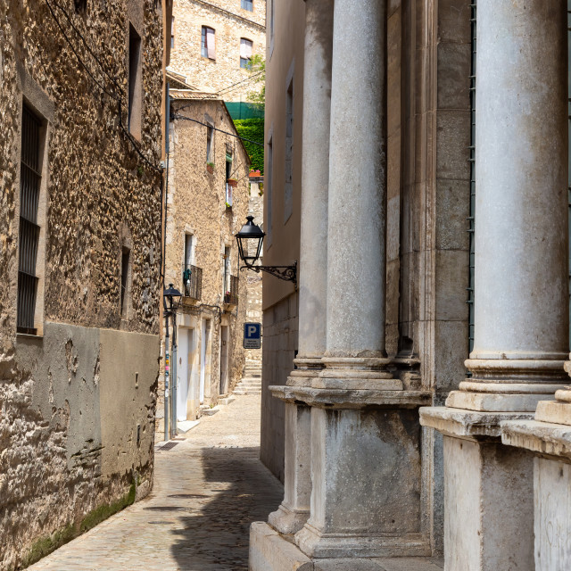 """Historic center and Jewish quarter of Girona (Spain)"" stock image"