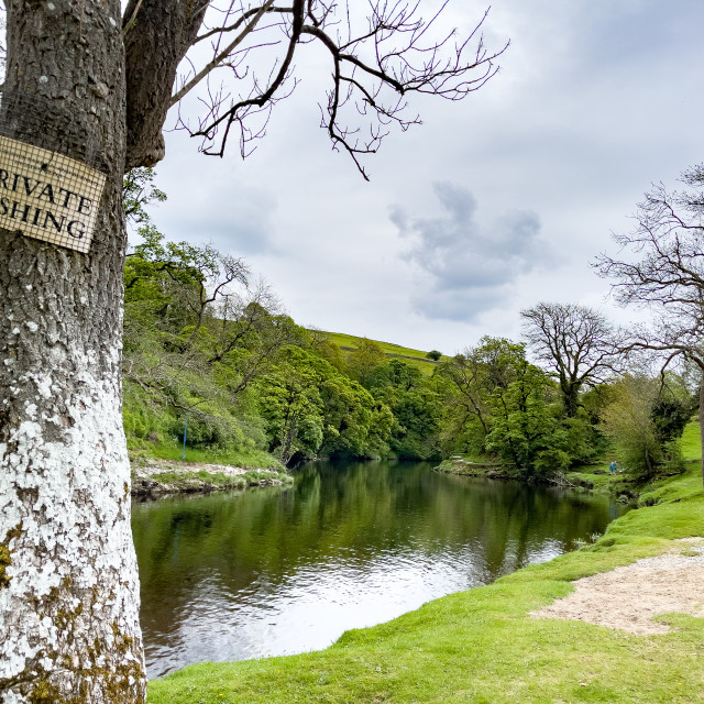 """""""Private Fishing Sign, River Wharfe, Burnsall, Yorkshire Dales."""" stock image"""
