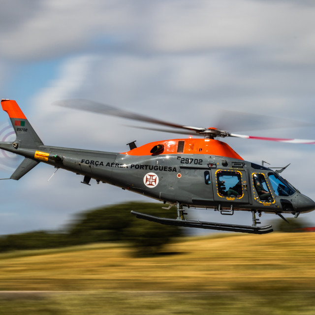 """""""AW119 Koala helicopter of the Portuguese Air Force during NTM 2021"""" stock image"""