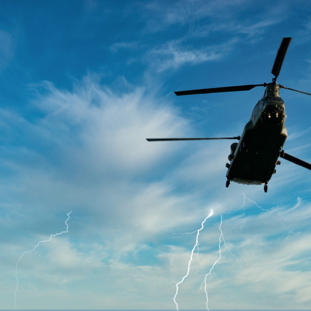 """Chinook Storm Flight"" stock image"