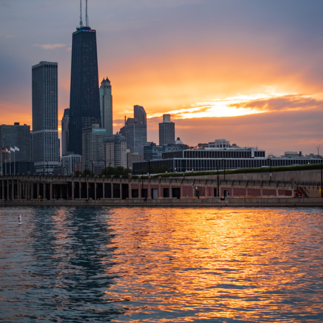 """""""Chicago Skyline at Sunset from Navy Pier"""" stock image"""