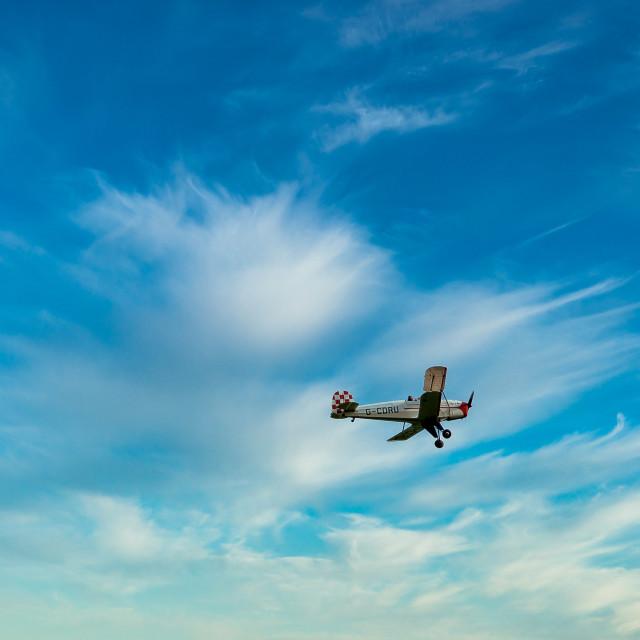 """Biplane G-CDRU Flypast"" stock image"