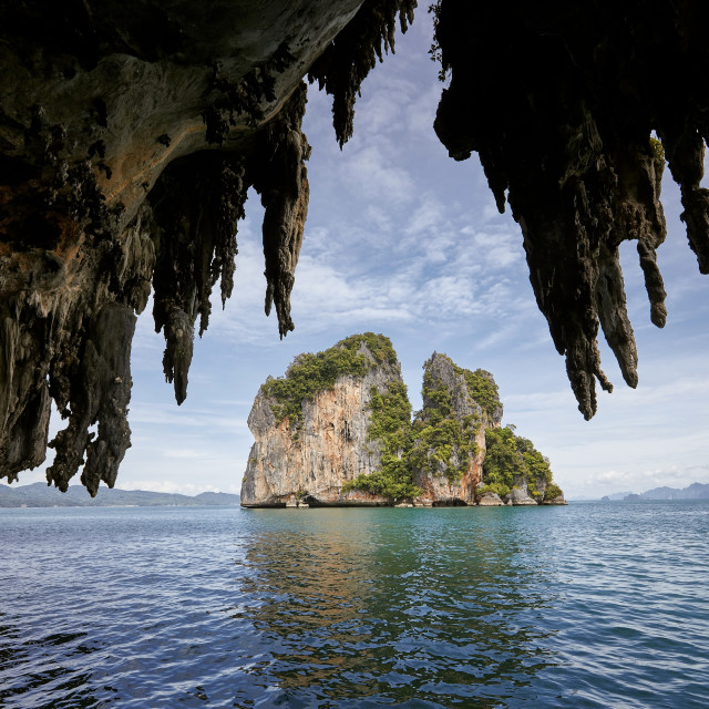 """""""View from carst cave on tropical island."""" stock image"""